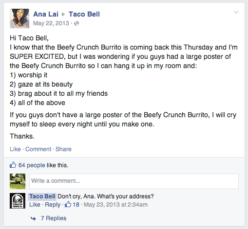 Screen capture of Facebook post from lady on Taco Bell's page asking for a poster.