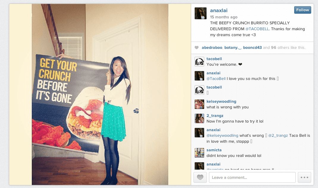 Screen capture of Instagram photo and comments of girl with Taco Bell poster.