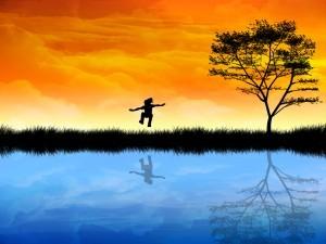 Reflection on pond.