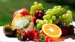 Fresh fruit display.