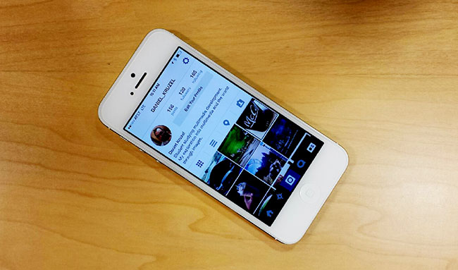 iPhone displaying users Instagram profile page.