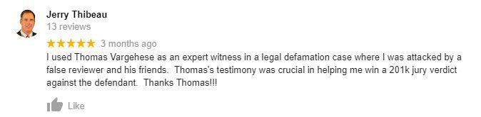 Online Reviews Expert Witness Testimonial