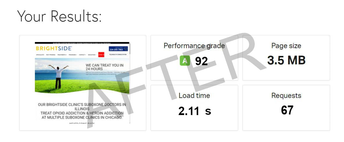 Brightside Clinic speed test (after)