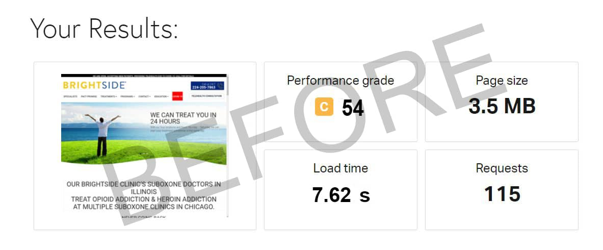 Brightside Clinic speed test (before)