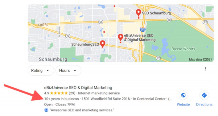 eBizUniverse Years in Business Google My Business